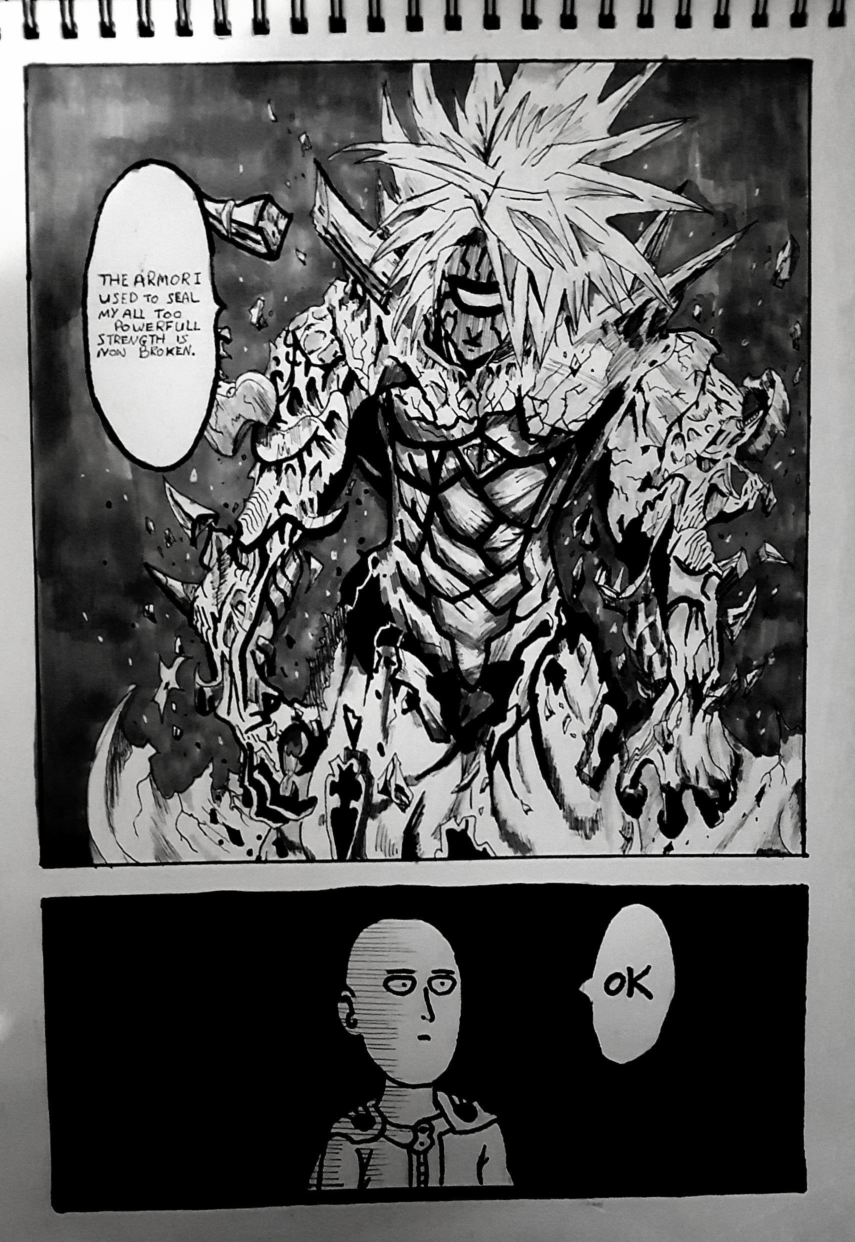 Saitama with Ok text overlay OnePunch Man Saitama 1080P