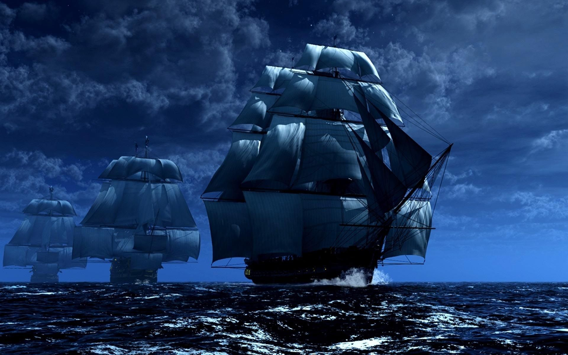 Обои корабль, парусник, Облака. Пейзажи foto 15