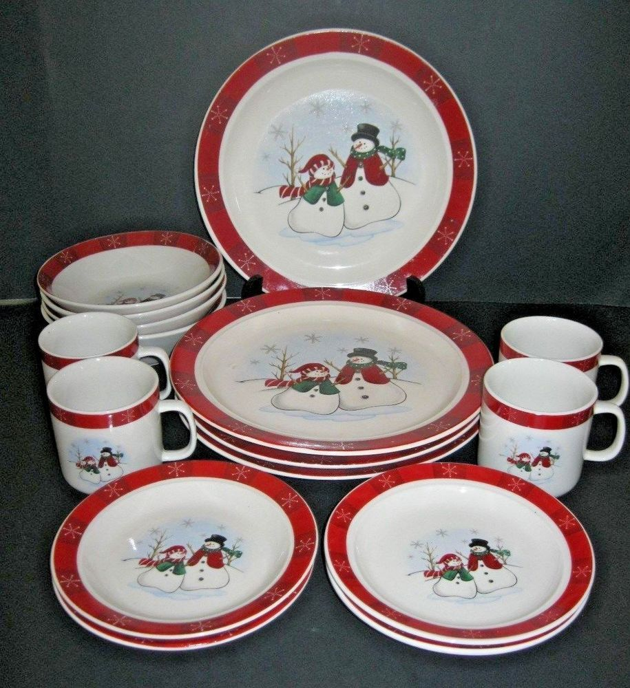 Royal Seasons Christmas Snowman Stoneware 16 Pc Dinnerware ...