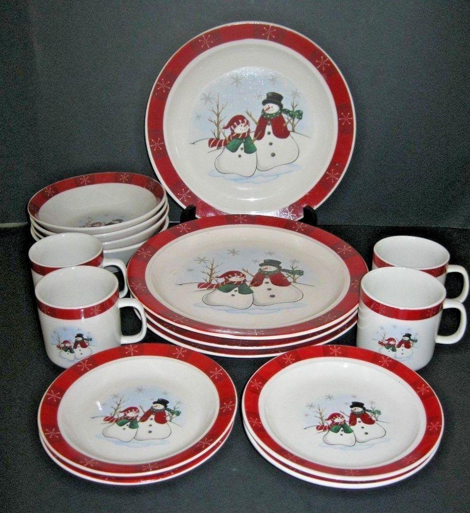 Royal Seasons Christmas Snowman Stoneware 16 Pc Dinnerware Set Retired Royalseasons Christmas Dishes Christmas Table Settings Dinnerware Set