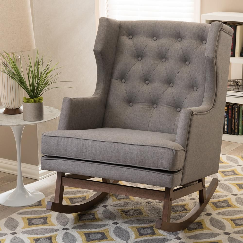 Upholstered rocking chairs iona midcentury gray fabric upholstered rocking chair  upholstered