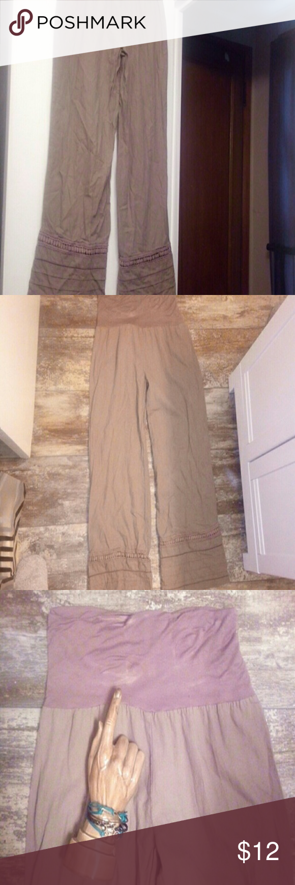 Brown Boho Palazzo Pants / Large Beautiful Vintage feel,  free-flow, loose fit linen pants with cotton T-shirt material top. These photos don't do the pants justice.  The color is cocoa brown.  You will notice where the glass hand is pointing that there is a bit of lightening of the fabric in Spots.  (only on that area,  not on the pants themselves).  The bottoms have amazing detail and they are meant to be ankle length I believe.  These have never been worn,  they have been washed though…