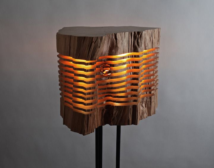 Sliced Sculpture Lamps Highlight The Natural Beauty Of Firewood Wooden Lamp Modern Wood Lights Lamp