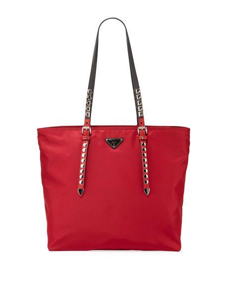 cd88965c394f83 Prada Prada Black Nylon Shopper with Studding | Handbags | Prada bag ...