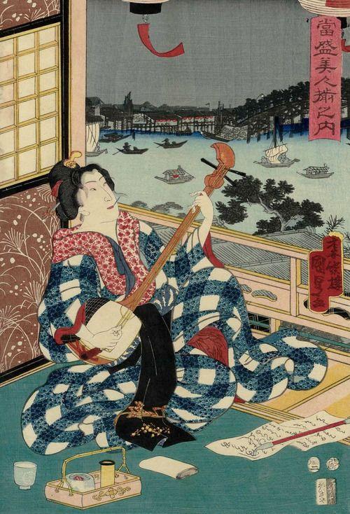 Tosei bijin soroe no uchi. Ukiyo-e woodblock print, 1857, Japan, by artist Utagawa Kunisada II.