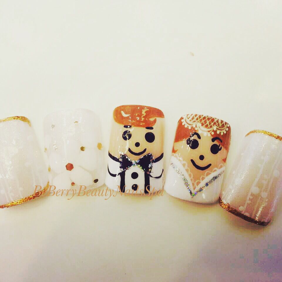 Cute ideas #marriage theme nail art #beberrybeautynailsspa #bangkok #thailand. #reservation +6621494629