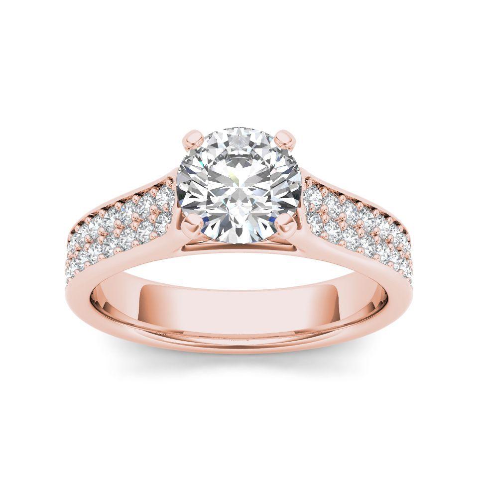 De Couer 14k Rose Gold 1 1/2ct TDW Diamond Classic Engagement Ring