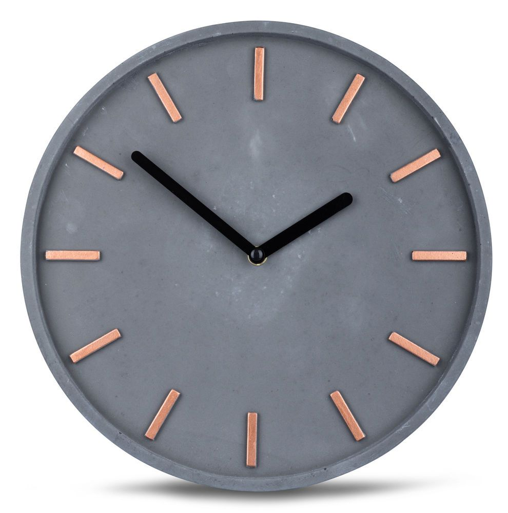 Details About High Quality Beton Uhr Wall Clock In Grey Copper Time Modern Wall Decoration Wall Clock Modern Wall Decor Clock