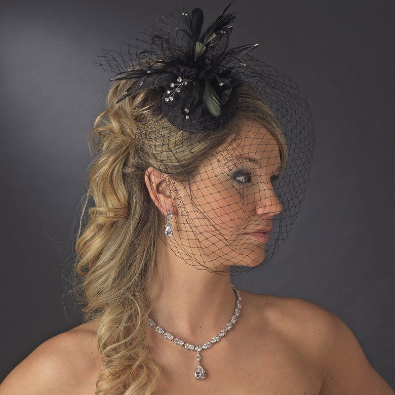 Black Wedding Bridal Or Formal Church Hat With Birdcage Veil Crystals And Feathers