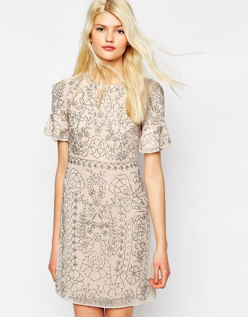 Image 1 of Needle & Thread Linear Motif Embellished Shift Dress ...