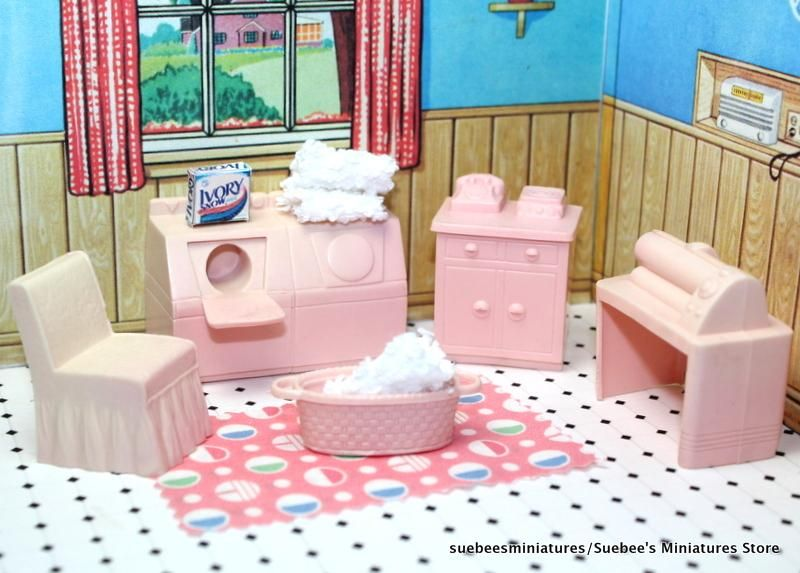 Adorable Laundry Room w Accessories Vintage Marx Dollhouse Furniture ...