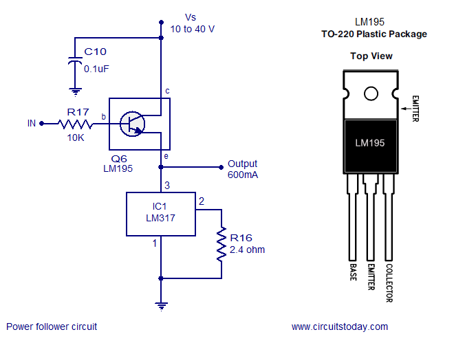 power follower circuit, constant current voltage regulator, lm317Lm317 Voltage Regulator Circuit Diagram #9