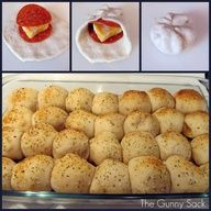 I did this in Jr high and called it bubble bread --- but only 2 can put sauce in the middle for a dip ( mycyK)  Easy Pepperoni Rolls.   3 cans Pillsbury Buttermilk Biscuits (10 biscuits per can)  56 pepperoni slices  Block of cheese (I use Colby  Monterey Jack)  1 beaten egg  Parmesan  Italian seasoning  Garlic powder  1 jar pizza sauce