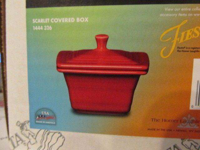 FIESTA WARE HOMER LAUGHLIN SCARLET RED COVERED BOX  RARE picclick.com