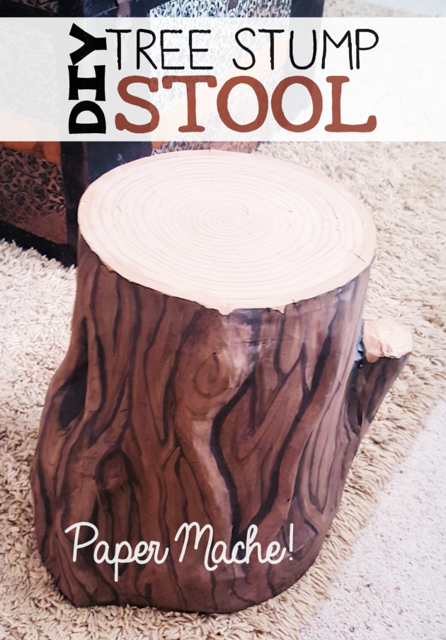 Paper Mache Tree Stump Stool That Diy Party Highlights