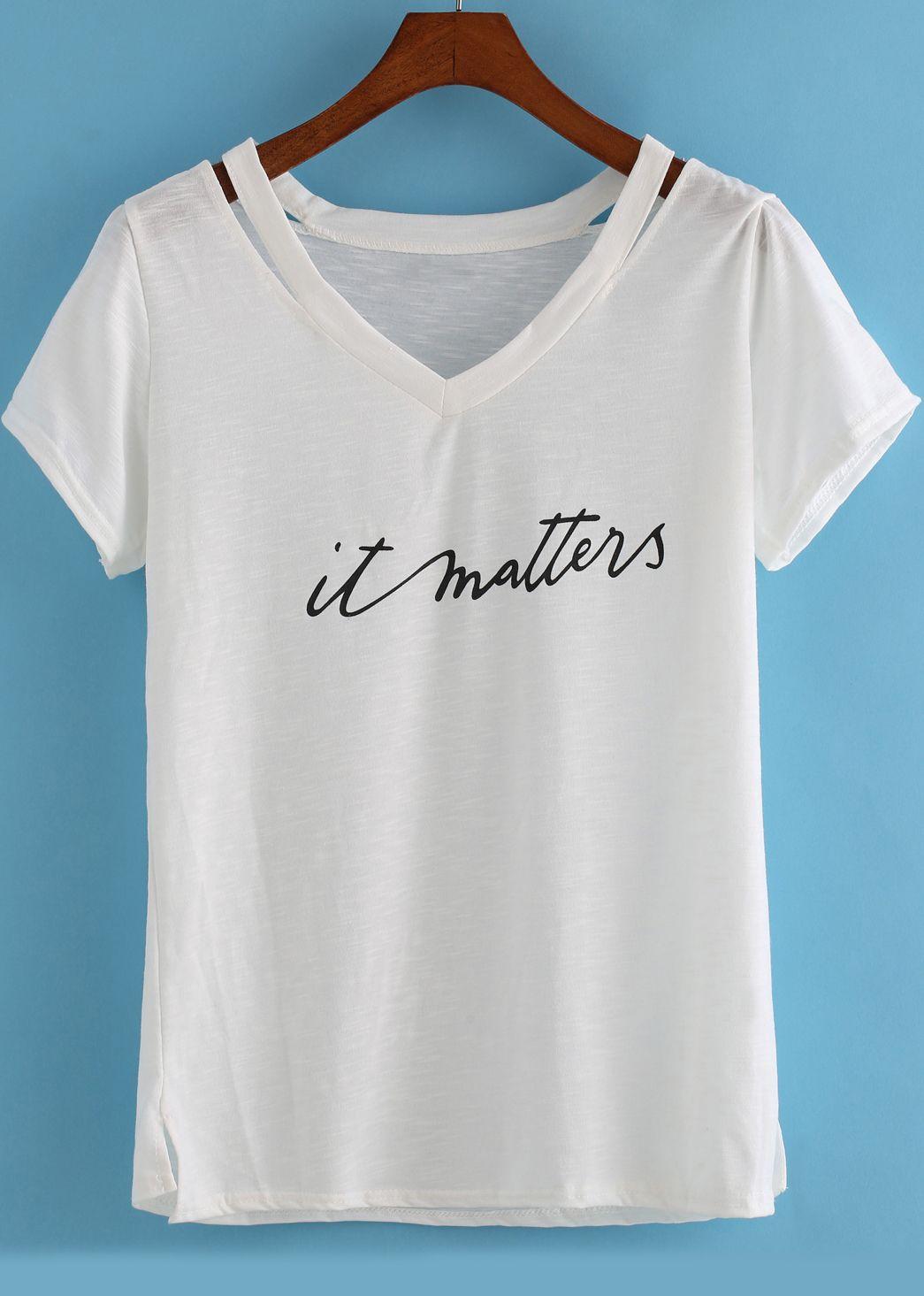 Camiseta cuello V hollow letras -blanca | DIY FASHION - MODA - ROPA ...
