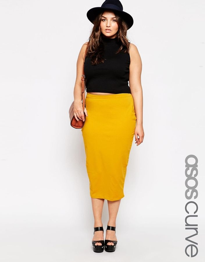 c4ccdd389e ASOS CURVE Midi Pencil Skirt In Jersey | Plus Size Fashion in 2019 ...