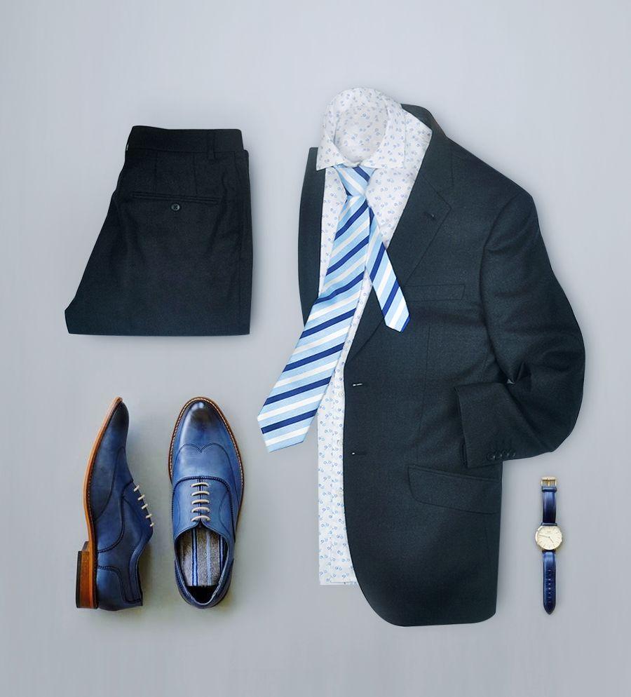 Dark grey purple wool stripe two botton suit for men   Men\'s style ...