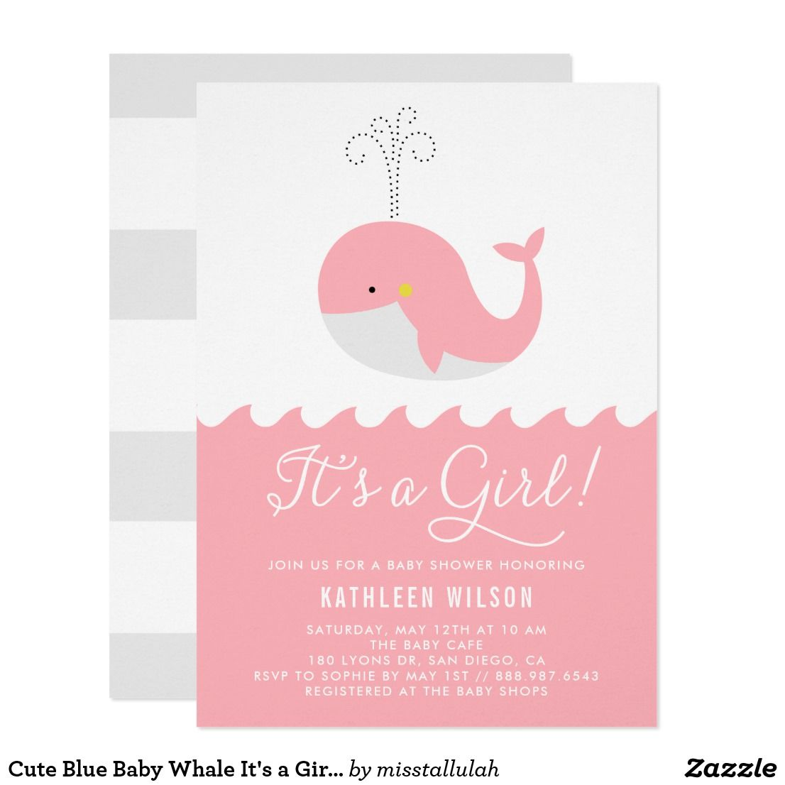 Cute Blue Baby Whale It\'s a Girl Baby Shower Card | Shower ...