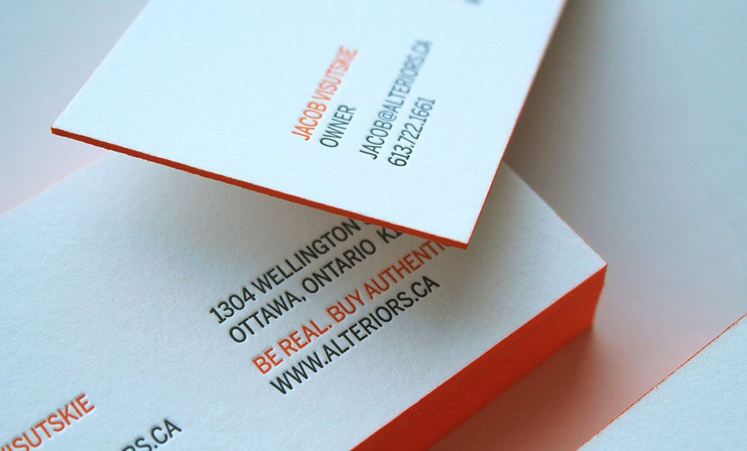 Branding for modern furniture store alteriors by ottawa graphic branding and logo design for alteriors a modern furniture store in ottawa canada by idapostle including letterpress business card and advertising reheart Gallery