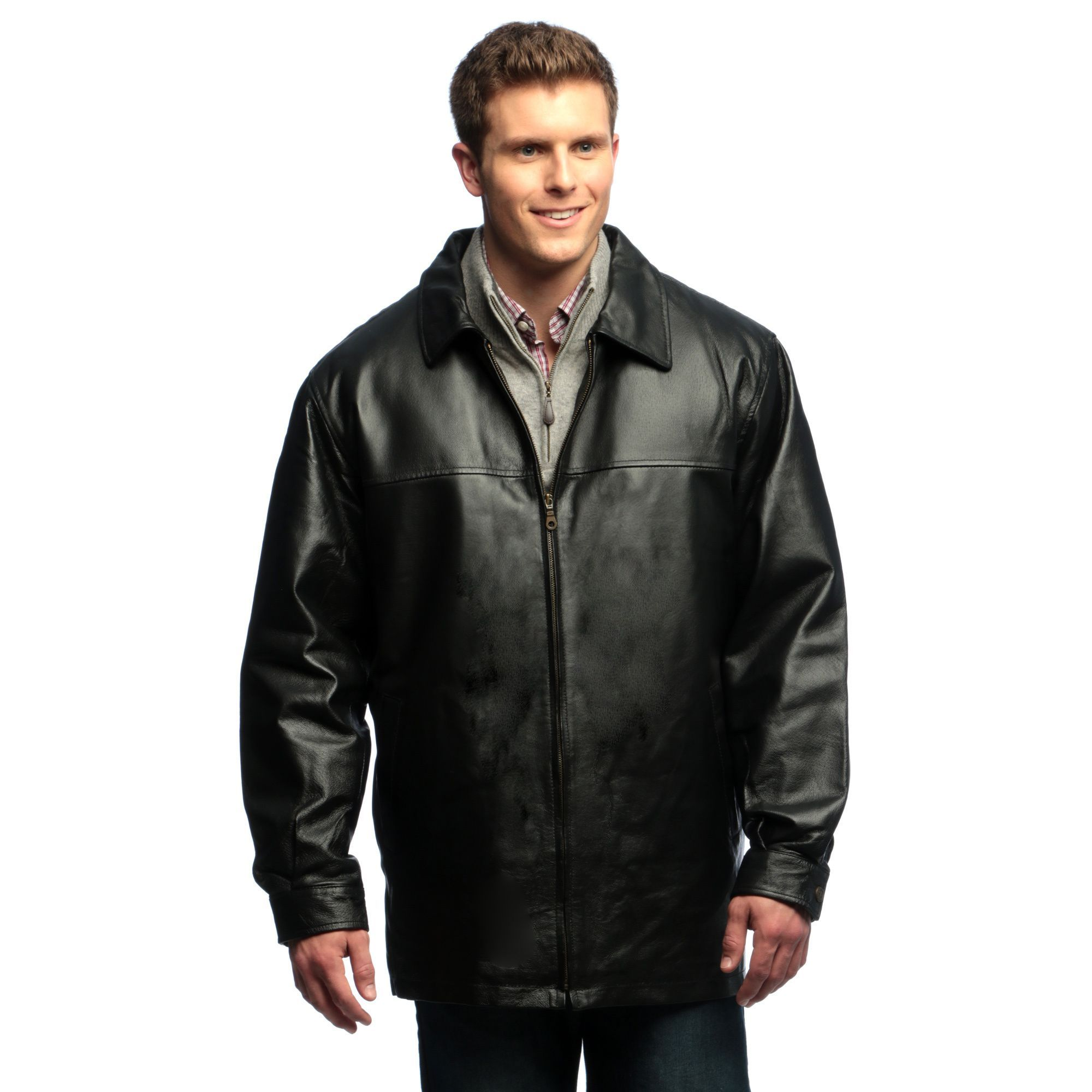 Tanners Avenue Men's Genuine Leather Zipfront Half Coat