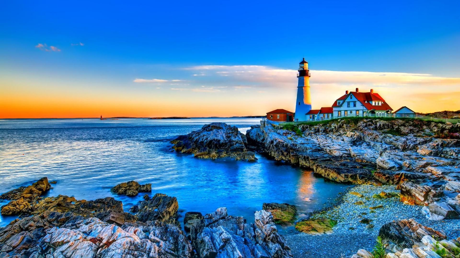 Gorgeous Lighthouse On A Rocky Shore Hdr HD Desktop Background wallpaper free