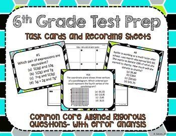 6th Grade Math Test Prep Task Cards + Recording Sheets- Common Core Aligned