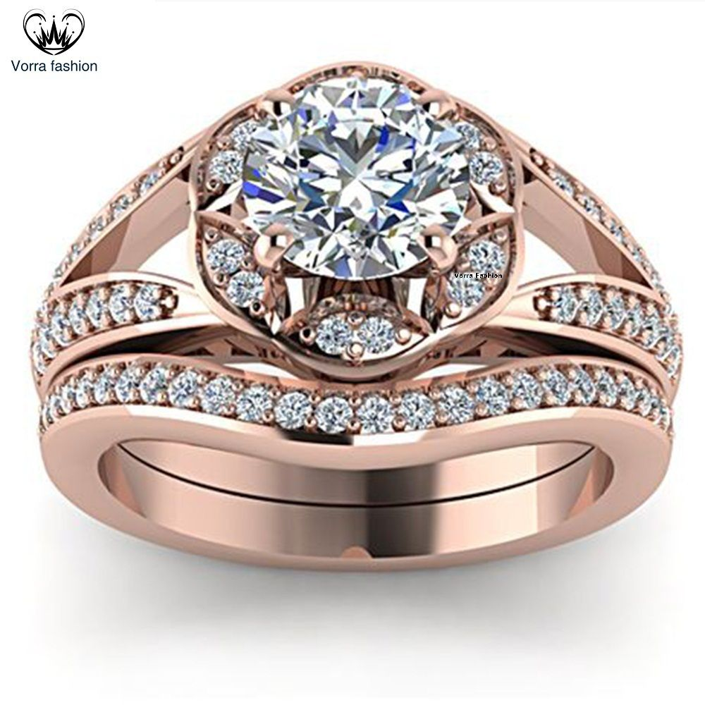 Classy look 14k rose gold plated 925 silver round diamond