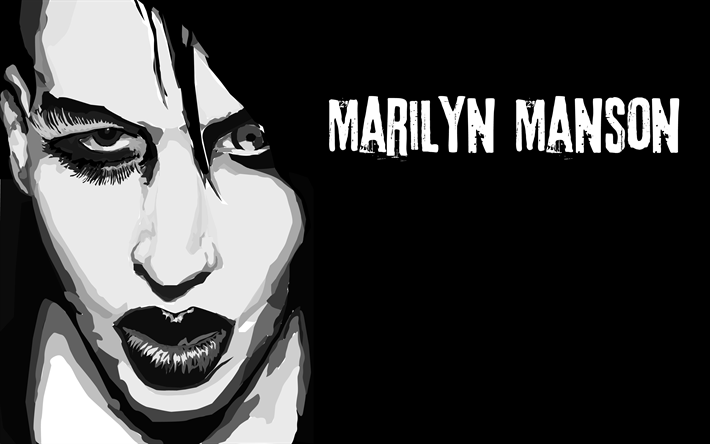 Download Wallpapers Marilyn Manson 4k Art Rock American