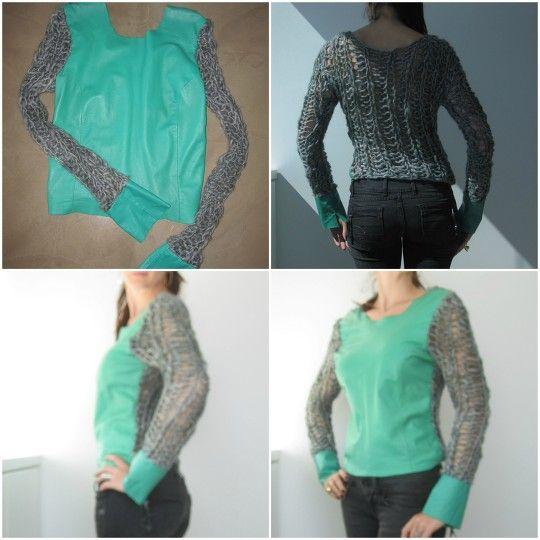 tricot verde cinza com frente em pelica