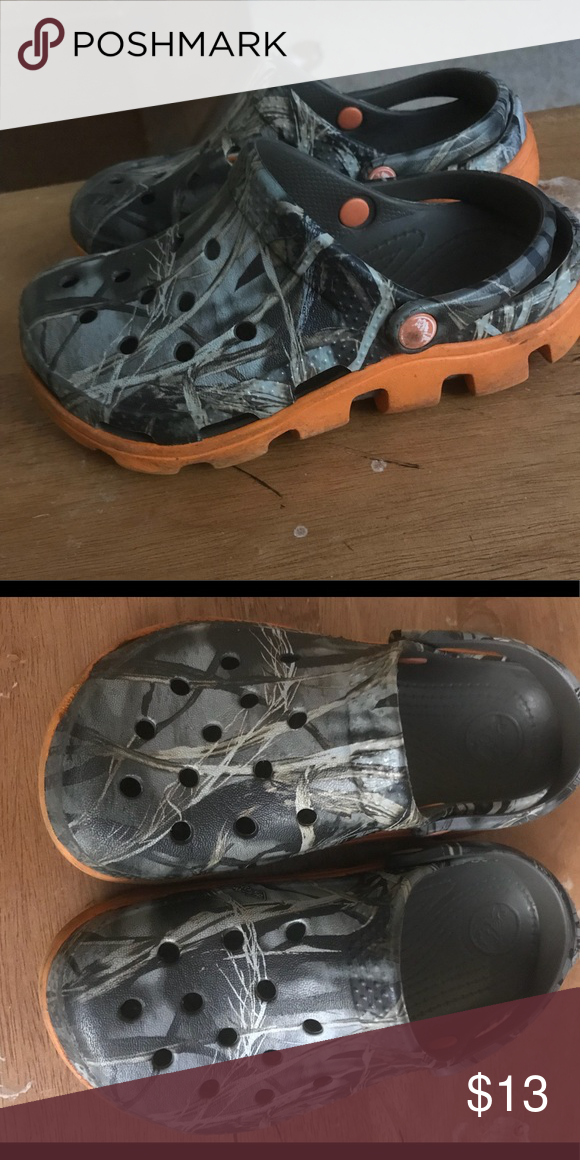38672d63ff1ae Crocs size 12 13 Child. Camouflage and orange Crocs child size 12 13. Great  used condition. Barely worn. CROCS Shoes