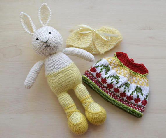 Knitting Easter Bunnies : Hand knit easter bunny girl soft toy knitted little cotton