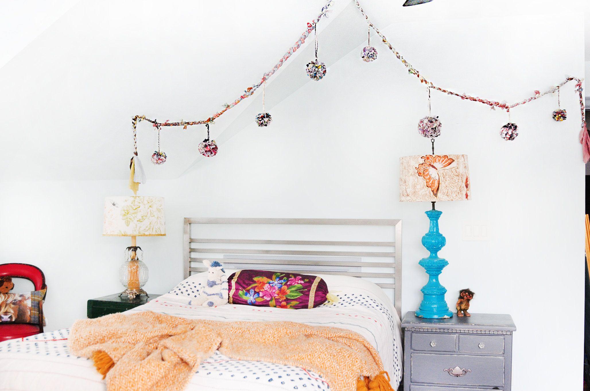 15ft Braided Pom Pom Banner, Mixed Media art, Boho decor, Sparkle stars, Upcycled decoration, Party decor #PartyDecoration #ColorfulDecor #PartyStreamer #UniquePartyDecor #UpcycledArt #HandDyedFabric #CreativeDecorating #ophilya #ColorfulStreamer #EcoConsciousDecor