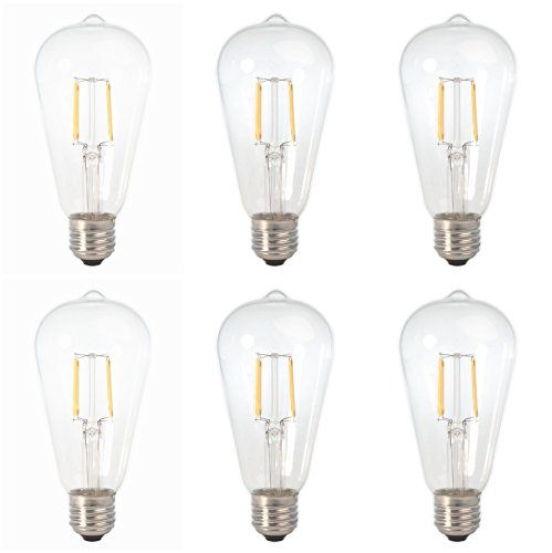 6 Pack Dc 12v Nostalgic Warm White 3000k 6watt Led Edison Filament St64 Light Bulb E26 E27 Medium Base Lamp Cage Pendant Lamp Light Bulb Filament Bulb Lighting