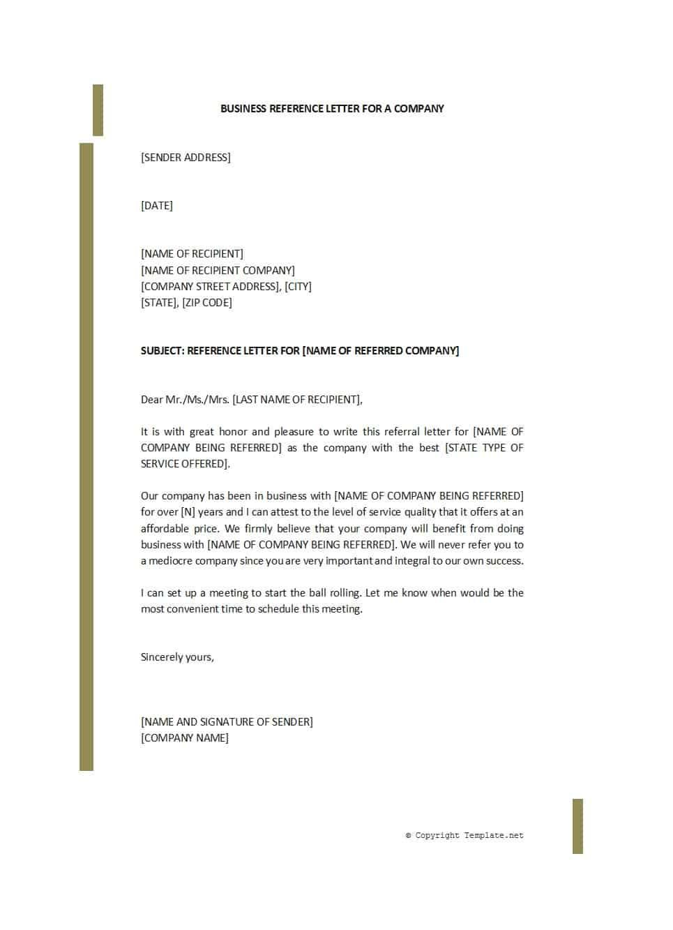45 awesome business reference letters template archive