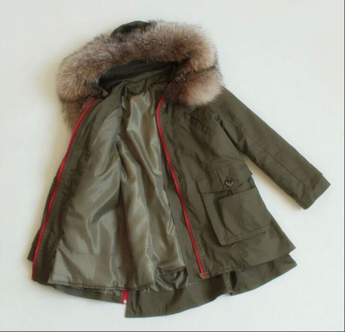 Womens military jacket with fur hood