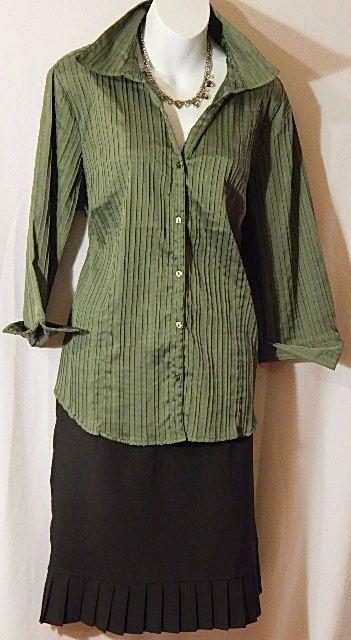 5ccaa31c9fc Dressbarn Womens Dark Green Pintucked 3 4 Sleeve Blouse Top Shirt Size  14 16  dressbarn  ButtonDownShirt