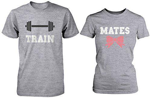Cute Couple Workout T-Shirts - Train Mates Matching Grey ...