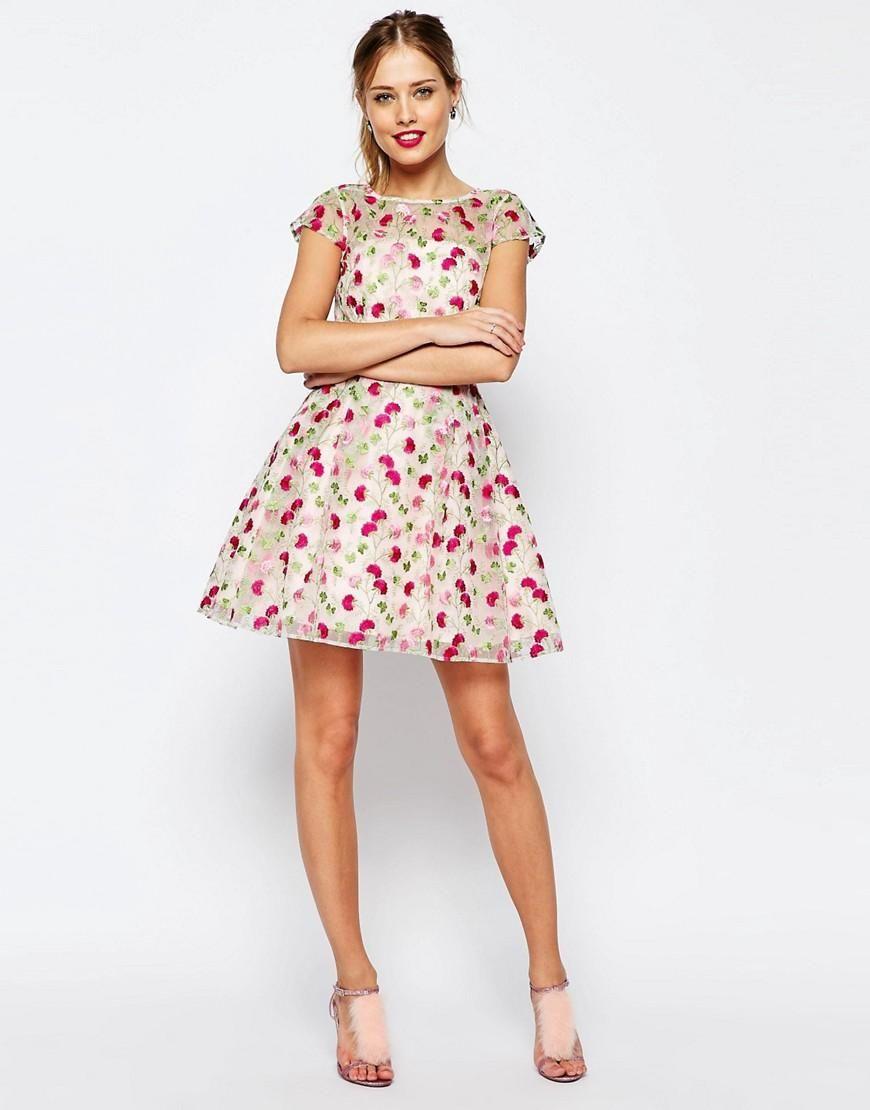 ASOS | ASOS SALON Pretty Floral Embroidered Mini Skater Dress at ...