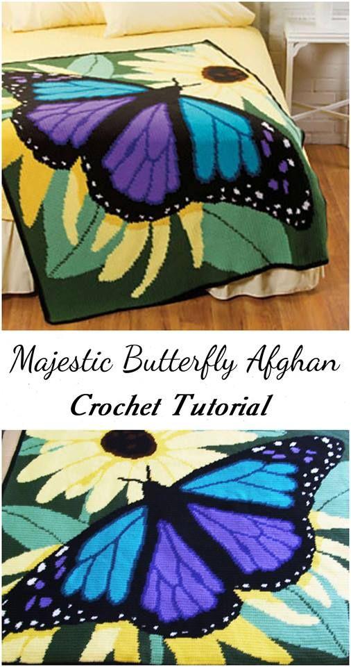 Crochet Majestic Butterfly Afghan | peitot | Pinterest | Gehäkelte ...