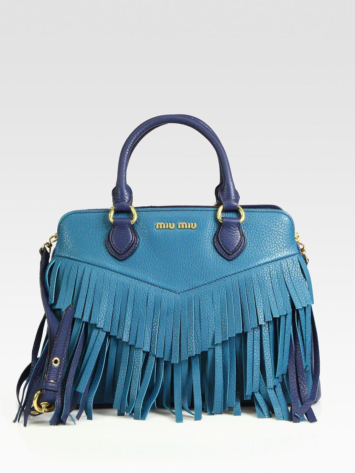 Tote / shoulder bags Top handle Satchel Leather Blue Gold Fringes Metal