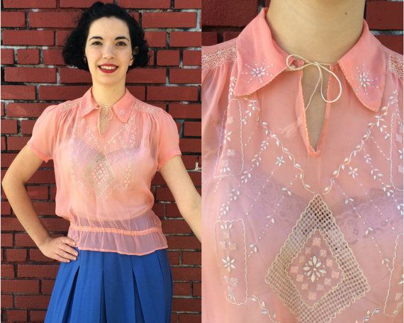 Stunning 1920s peasant blouse in salmon pink chiffon with ivory embroidery and smocking! Completely sheer, so it will need to be worn with a