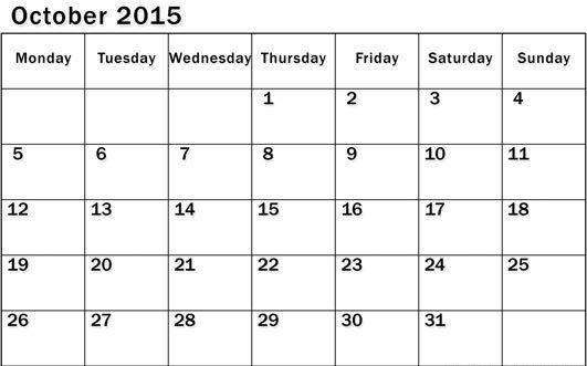 Oct 2015 Calendar Printable Pdf October 2015 Calendar With Holidays Printable Calendar July Free Printable Calendar Calendar Printables