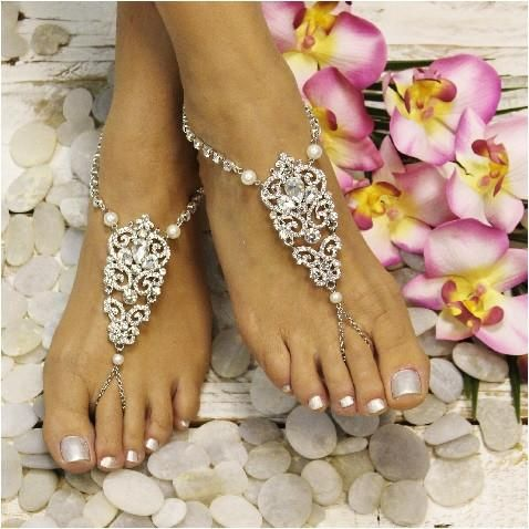 6bf04718d4a11 ANTOINETTE rhinestone pearl barefoot sandals. Foot Jewelry WeddingFootless  ...
