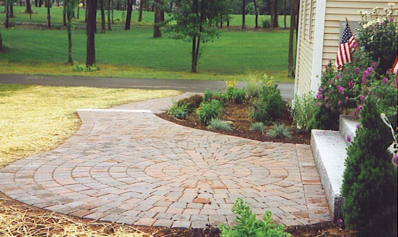 Red Paver Walkway With Granite Stairs Paver Walkway Granite Stairs Walkway