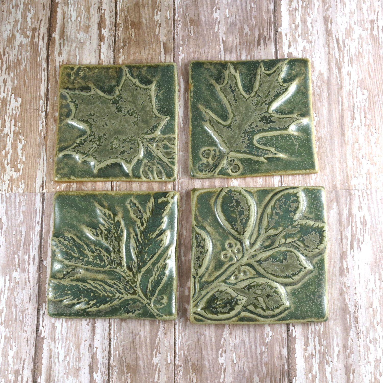 Ceramic Tile Pottery Handmade Accent Tile Wall Art Kitchen ...