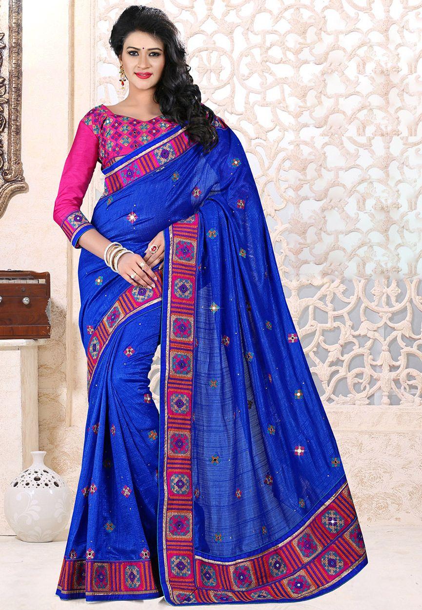Buy Embroidered Art Silk Saree in Blue online, work: Embroidered, color: Blue, usage: Festival, category: Sarees, fabric: Art Silk, price: $124.40, item code: SAS996, gender: women, brand: Utsav