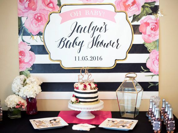 This Designer Chic Party Backdrop Will Set The Scene At Your Upcoming Baby Shower Bridal Or Other Display Behind Dessert Gift Table
