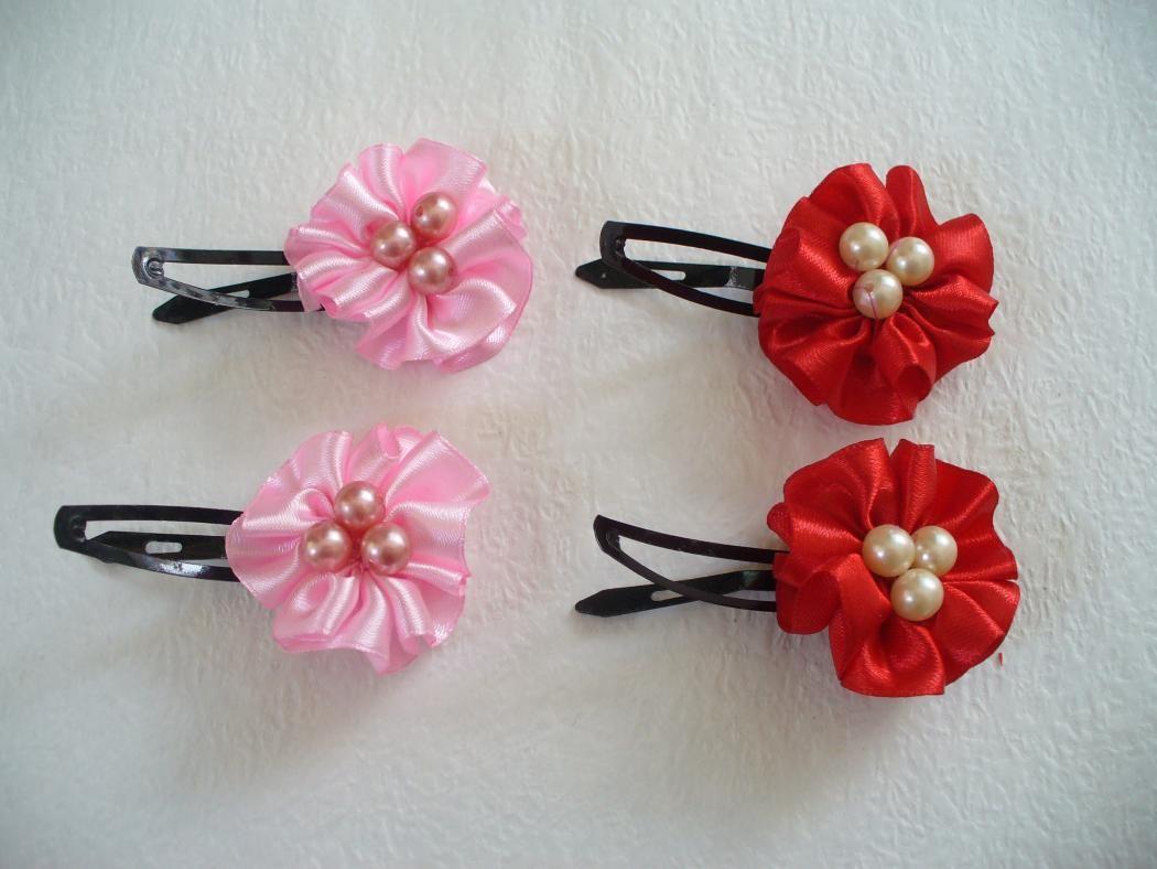 diy fabric flower hair clips