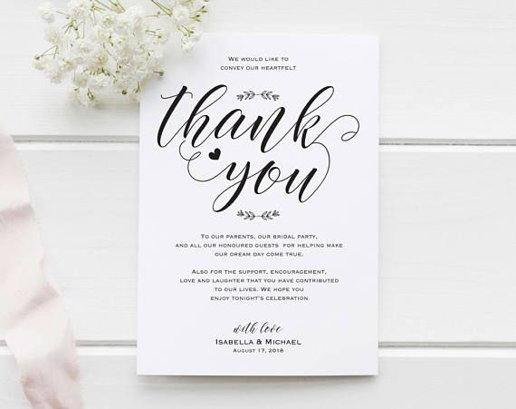 wedding thank you printable template thank you card template thank